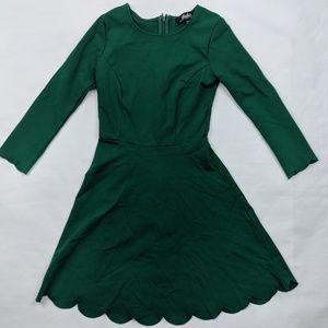Lulu's Scalloped Hem Long Sleeve Mini Dress